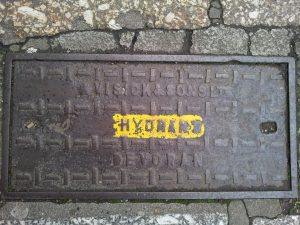 Hydrant cover by W. Visick and Sons Ltd, Devoran (The Greenmarket/Chapel Street, Penzance)