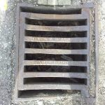 Gutter grill by Oatey and Martyn of Wadebridge (Old County Hall, Truro).