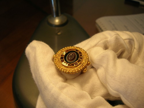 Finger ring, reusing a late Roman agate seal, from southern Italy, late 7th century (credit: Museo Nazionale Archeologico di Napoli).