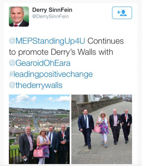 Twitter conversation of politicians using Derry Walls in #GE2015
