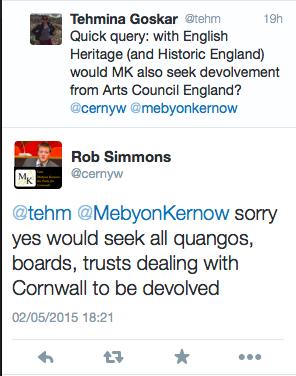 Tweets between me and Mebyon Kernow screenshot