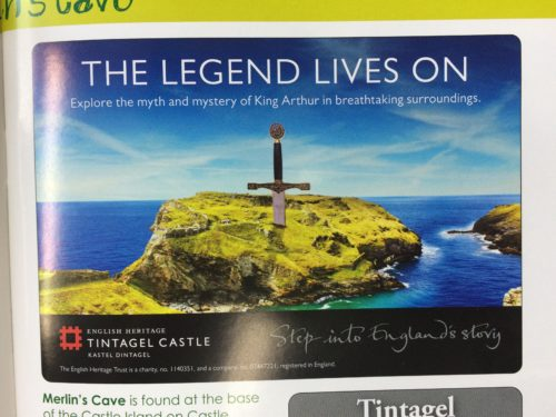 English Heritage advertisement in local tourist guide of TIntagel 2016