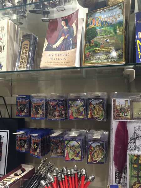 Generic English Heritage branded medieval souvenirs in one of the Tintagel Castle shops.