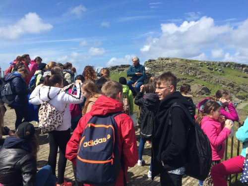 Tour group at Tintagel.
