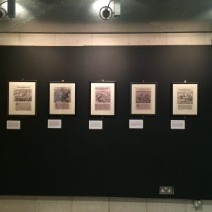Nothing is straight - shows a row of five framed prints