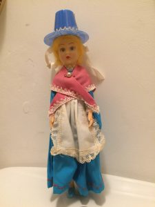 "Doll called ""Miss Cornwall"" allegedly wearing traditional Celtic clothes, 1960s."