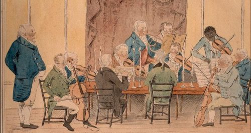 A Musical Club showing composer and musician Joseph Emidy of Truro (1775-1835). Courtesy of the Royal Institution of Cornwall